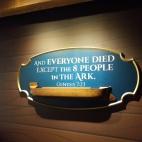 """Traducere: """"Si toti au murit inafara de cei 8 oameni din corabie"""" Geneza 7:23"""